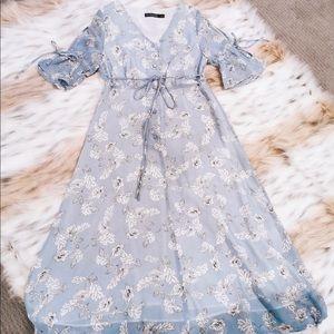 COPY - Blue Floral Shortsleeved Dress